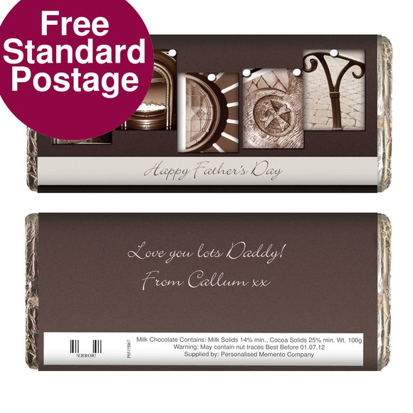 Personalised Affection Art Daddy Milk Chocolate Bar - Soap Scent & Home