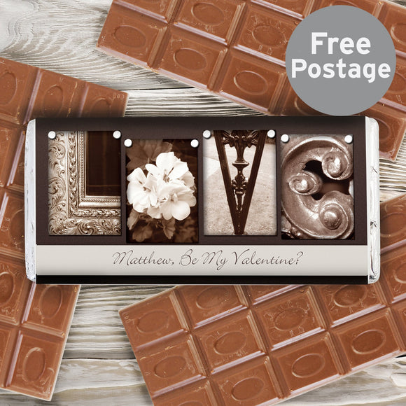 Personalised Affection Art Love Milk Chocolate Bar - Soap Scent & Home