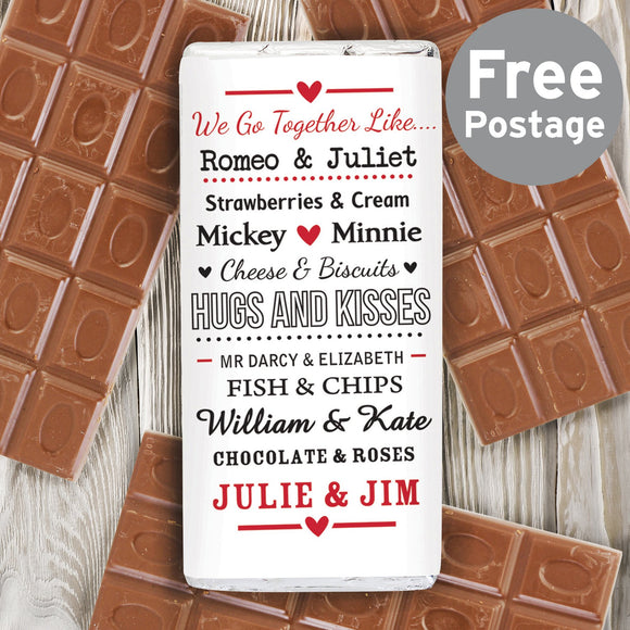 Personalised We Go Together Like.... Milk Chocolate Bar - Soap Scent & Home