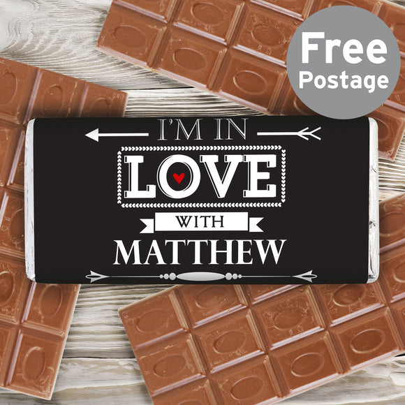 Personalised In Love With Milk Chocolate Bar - Soap Scent & Home
