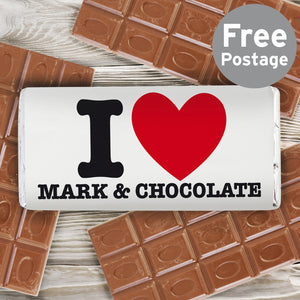 Personalised I HEART Milk Chocolate Bar - Soap Scent & Home
