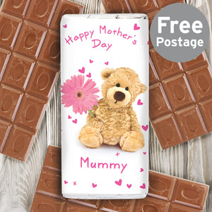 Personalised Teddy Flower Milk Chocolate Bar - Soap Scent & Home