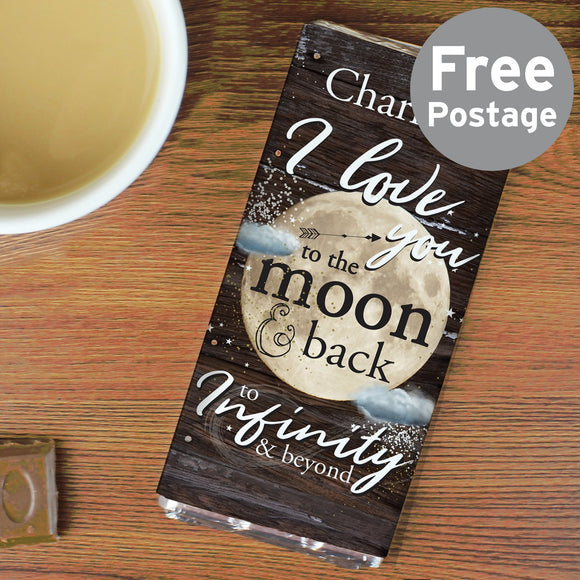 Personalised To the Moon & Infinity... Milk Chocolate Bar - Soap Scent & Home