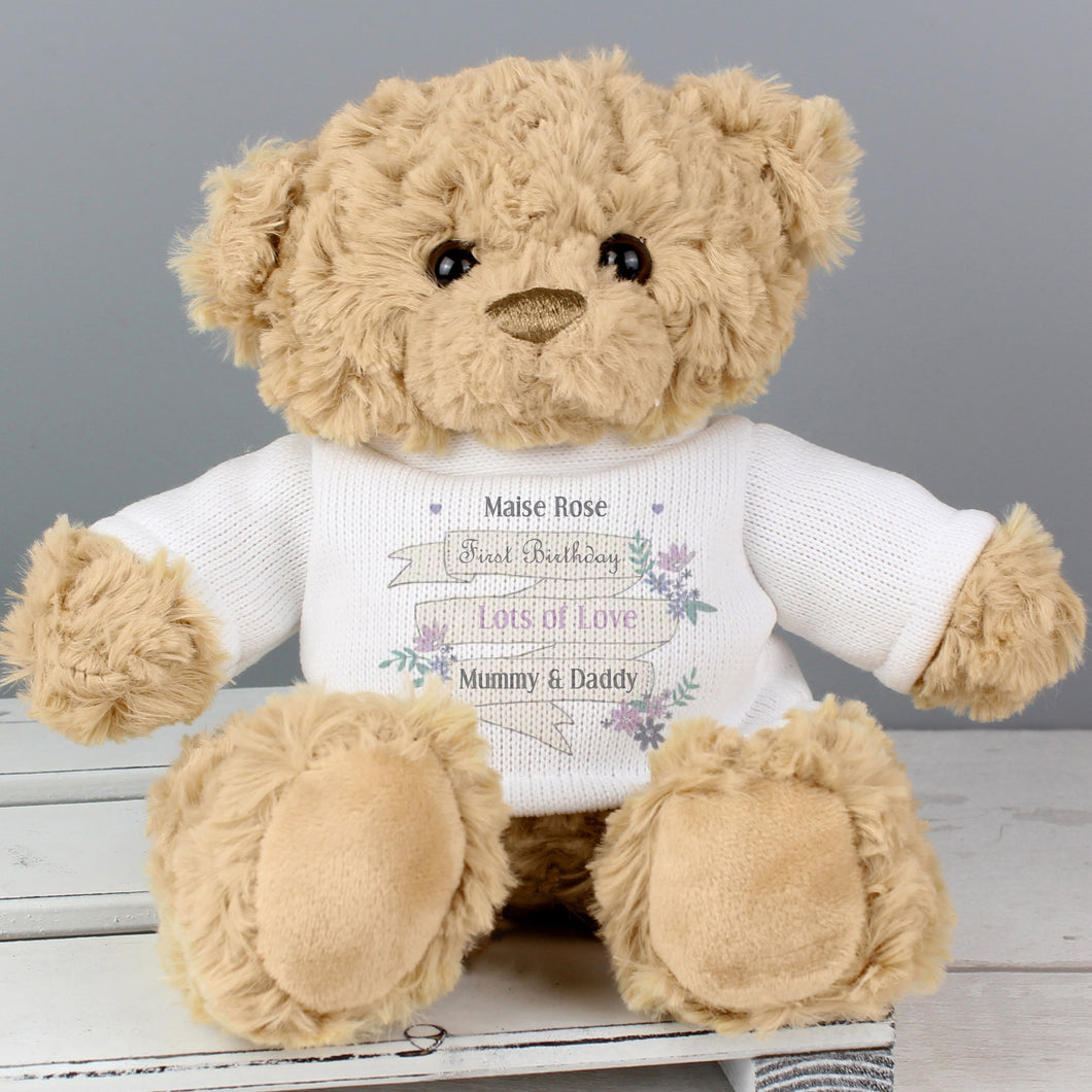 Personalised Garden Bloom Message Teddy Bear