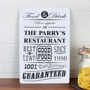 Personalised Food & Drink Restaurant Plaque - Soap Scent & Home