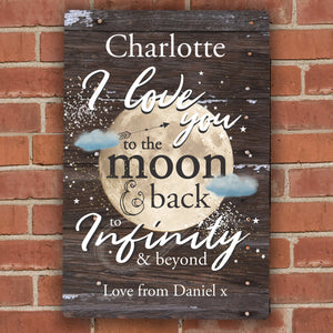 Personalised To the Moon & Infinity... Sign