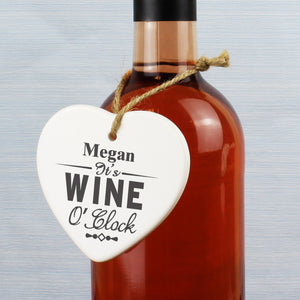 Personalised Wine O'Clock Ceramic Heart - Soap Scent & Home
