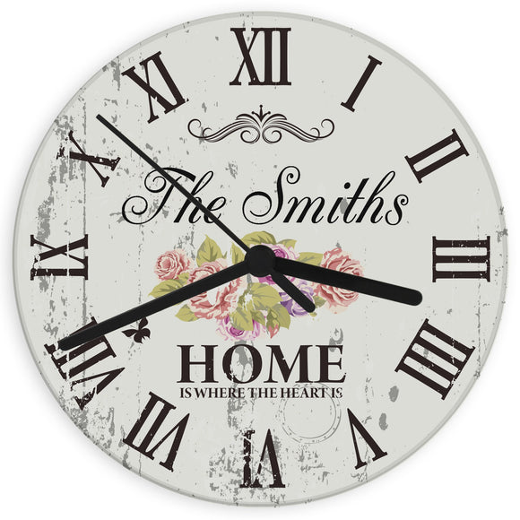 Personalised Shabby Chic Floral Glass Clock - Soap Scent & Home