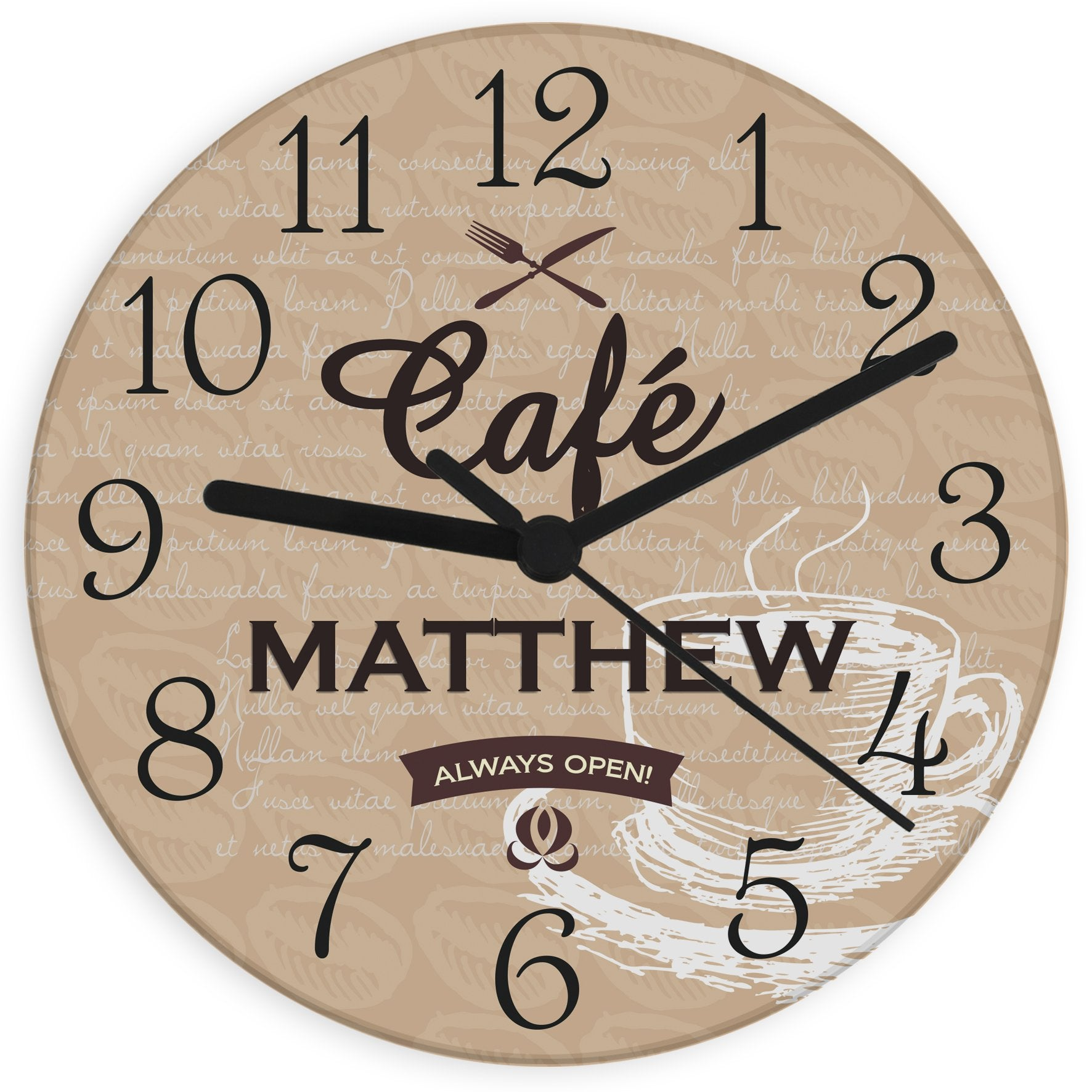 Personalised Cafe Glass Clock - Soap Scent & Home