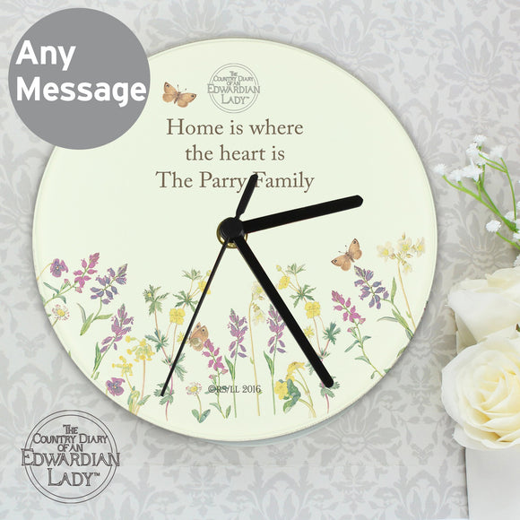 Personalised Country Diary Wild Flowers Glass Clock - Soap Scent & Home