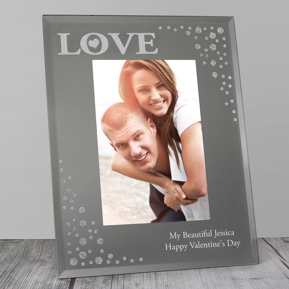 Personalised LOVE 6x4 Diamante Glass Photo Frame - Soap Scent & Home