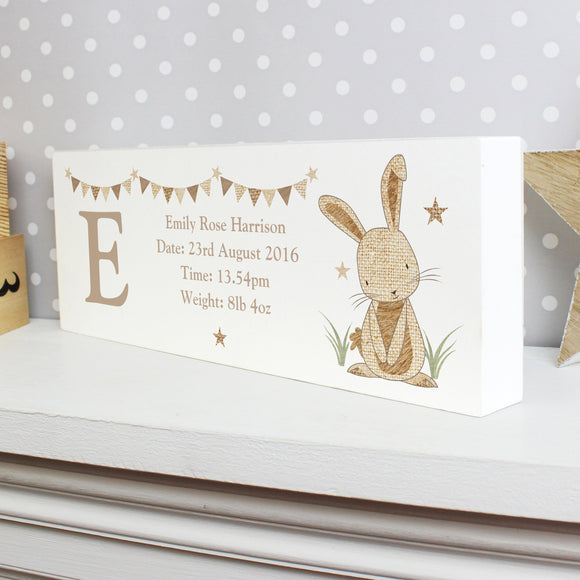 Personalised Hessian Rabbit Wooden Block Sign - Soap Scent & Home
