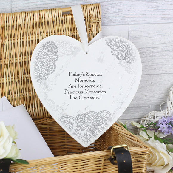 Personalised Dainty Lace Large Wooden Heart Decoration - Soap Scent & Home