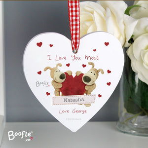 Personalised Boofle Shared Heart Wooden Heart Decoration - Soap Scent & Home