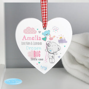 Personalised Tiny Tatty Teddy Dream Big Pink Wooden Heart Decoration - Soap Scent & Home