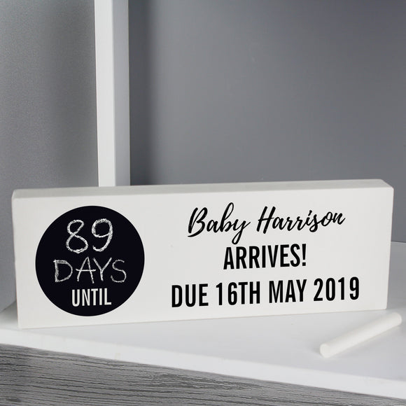 Personalised Classic Chalk Countdown Wooden Block Sign - Soap Scent & Home