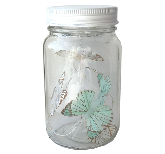 Butterfly Led Light Chain In Glass Jam Jar - Various Colours - Soap Scent & Home
