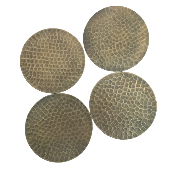 Set Of Four Hammered Gold Coloured Coasters - Soap Scent & Home