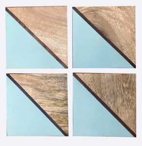 Set Of 4 Square Two Toned Wooden Coasters - Various Colours