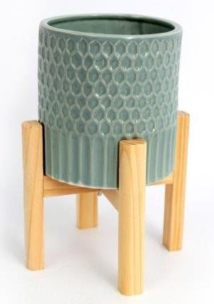 Large Ceramic Teal Coloured Planter On Wooden Stand - Soap Scent & Home
