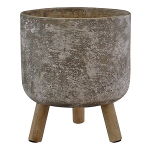 Large Grey Cement Planter With Wooden Legs, 20cm diameter - Soap Scent & Home