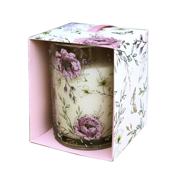 Floral Scented Candle Pot - Various Scents - Soap Scent & Home