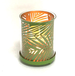 Botanical Metal And Glass Candle Holder - Lawn Green - Soap Scent & Home