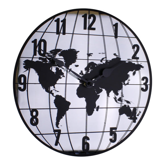 Mirrored Clock Featuring Map Of The World Design 30cm - Soap Scent & Home