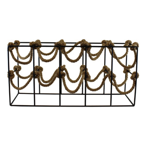 Ten Bottle Metal and Rope Wine Rack Freestanding - Soap Scent & Home