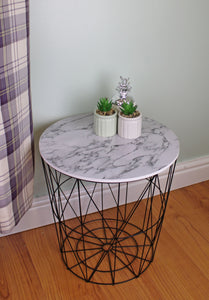 Circular Geometric Side Table Black & Marble Effect - Soap Scent & Home