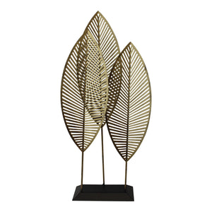 Three Leaf Metal Standing Ornament, 51cm. - Soap Scent & Home