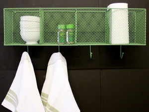 4  Basket and Hook Wall Unit Green - Soap Scent & Home