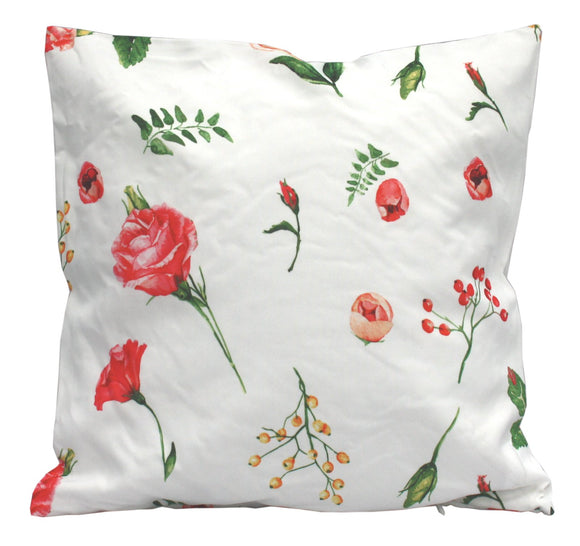 White Cushion With Floral Decor - Soap Scent & Home