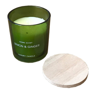 Glass Candle With Wooden Lid - Various Scents - Soap Scent & Home