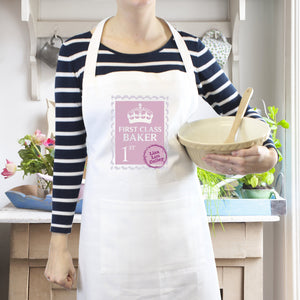 Personalised Pink 1st Class Apron - Soap Scent & Home
