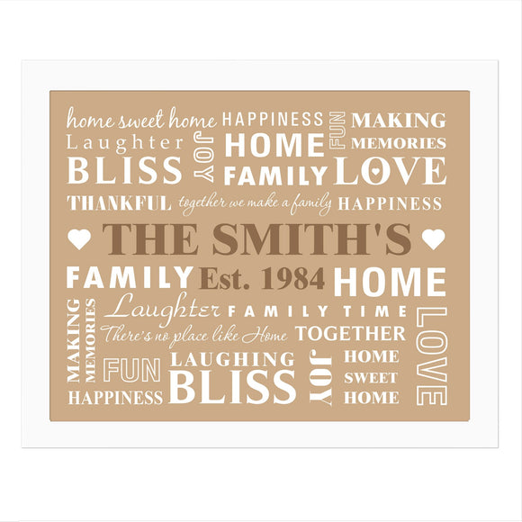 Personalised Family Typography White Framed Print - Soap Scent & Home