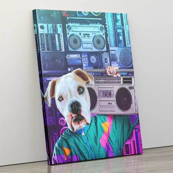 Boombox - Canvas Wrap - Custom pet art of your dog or cat by pop-your-pup