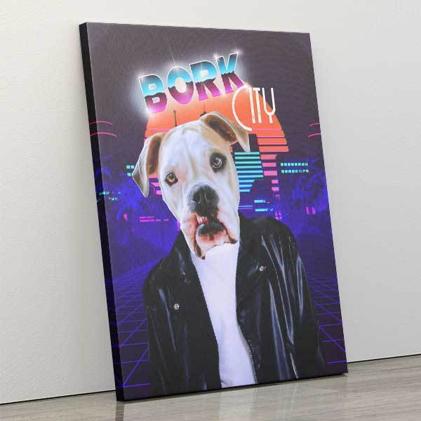 Bork City - Canvas Wrap - Custom pet art of your dog or cat by pop-your-pup