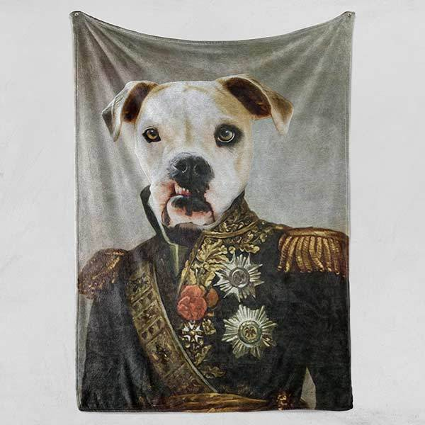 Colonel Borks - Fleece Blanket - Custom pet art of your dog or cat by pop-your-pup