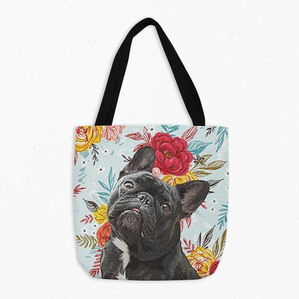 Black Bull Terrier Personalized Pet Tote Bag Dog Large Canvas Overnight Bag Travel Tote Dog Illustration Customized Puppy Bag Puppy Bag