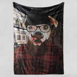 Hipster Guy - Fleece Blanket - Pop Your Pup!™