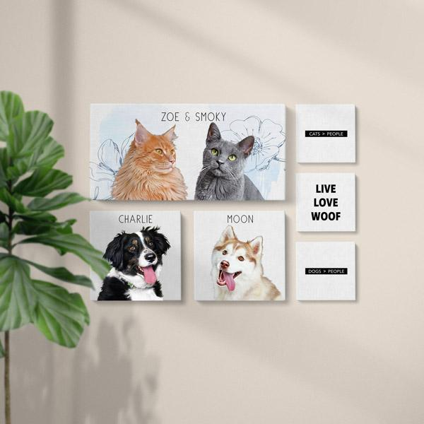 Pop Chic - 6 Canvas Gallery Set - 2 - Custom pet art of your dog or cat by pop-your-pup