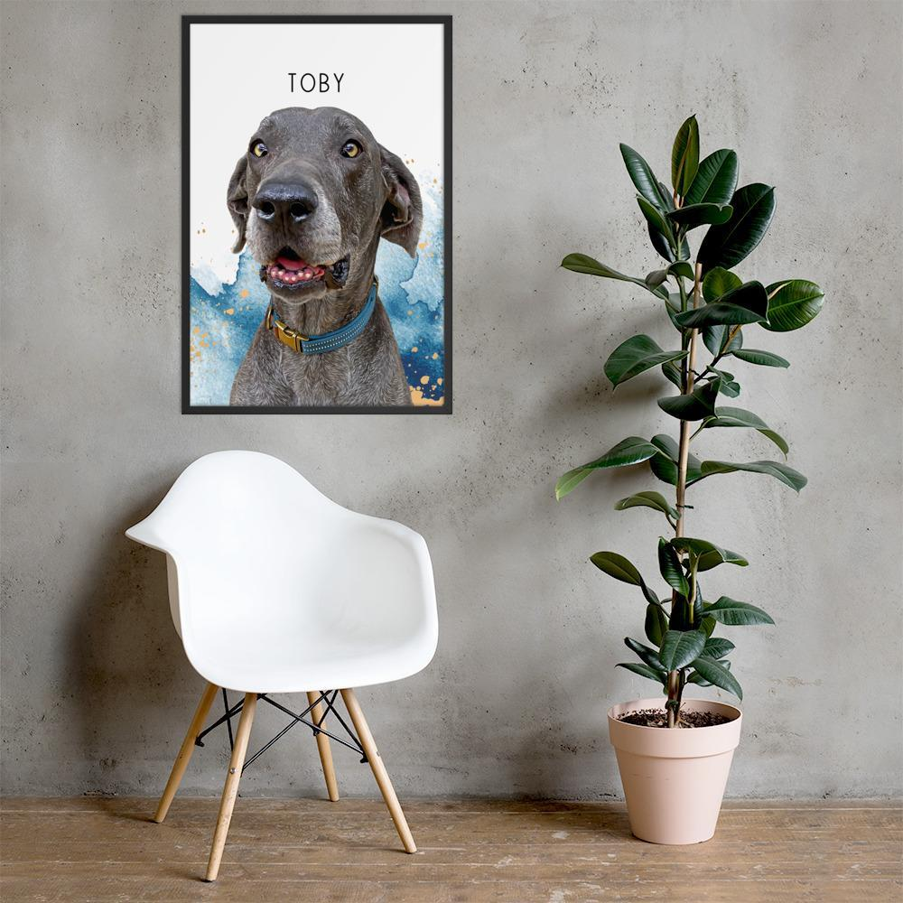 Pop Chic Modern Framed Print - Custom pet art of your dog or cat by pop-your-pup