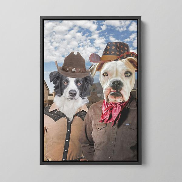 Western Couple - Framed Canvas
