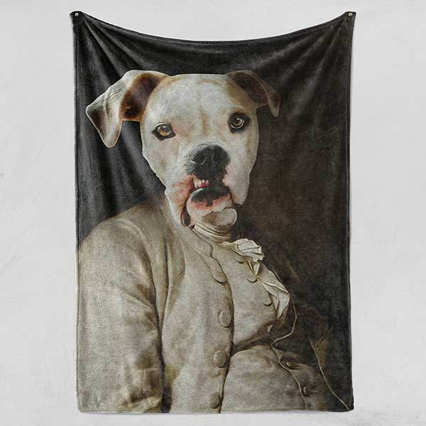 Robusto Borko - Fleece Blanket - Custom pet art of your dog or cat by pop-your-pup
