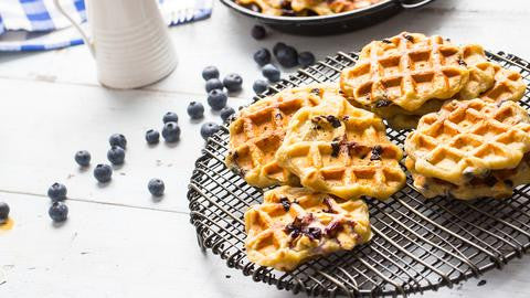 Blueberry Buttermilk Protein Waffles and Pancakes
