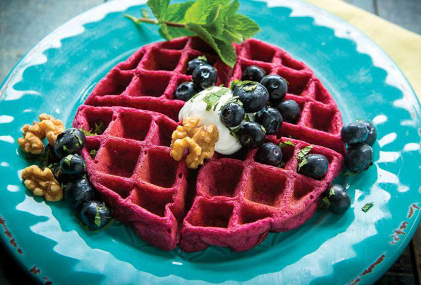 Beet and Blueberry Waffles