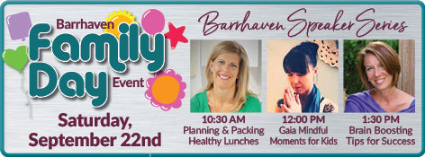 Sep 22: NFP Family Day Speakers - Healthy Lunches; Mindfulness for kids; Brain Foods!