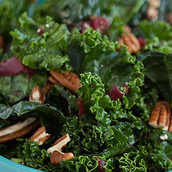 Kale Salad with Savoury Cranberry Dressing
