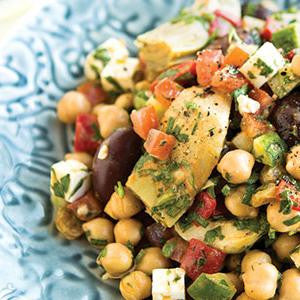 Mediterranean Chickpeas with Smoky Tahini Dressing
